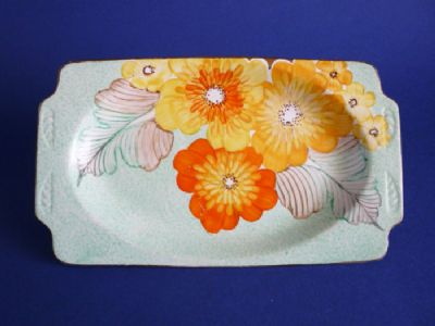 Gray's Pottery Art Deco Hand Painted Floral Tray c1935